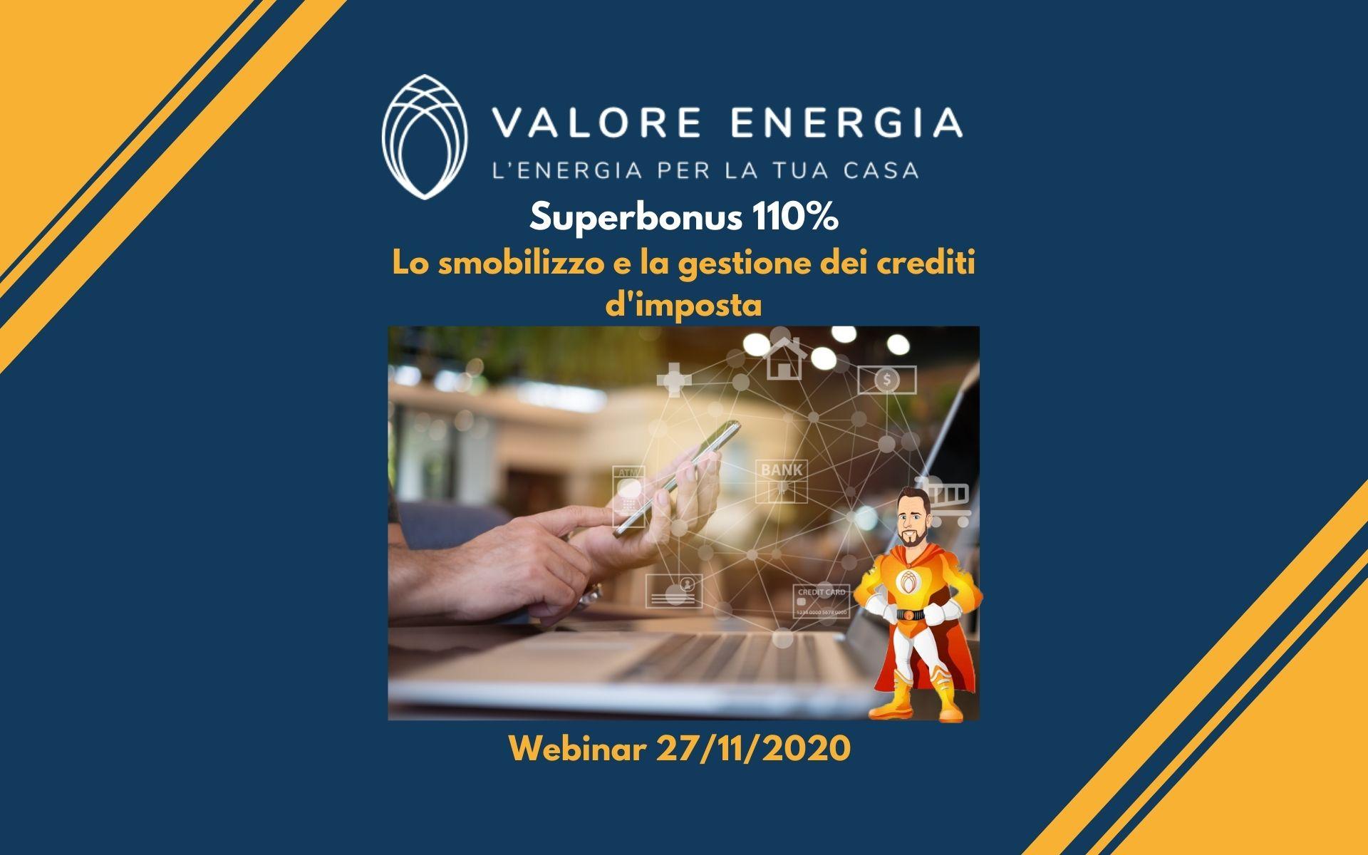 Webinar sul Superbonus 110%: Lo smobilizzo e la gestione dei crediti d'imposta